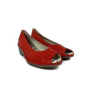 Fly London Red Leather Peep Toe Wedges NWOB